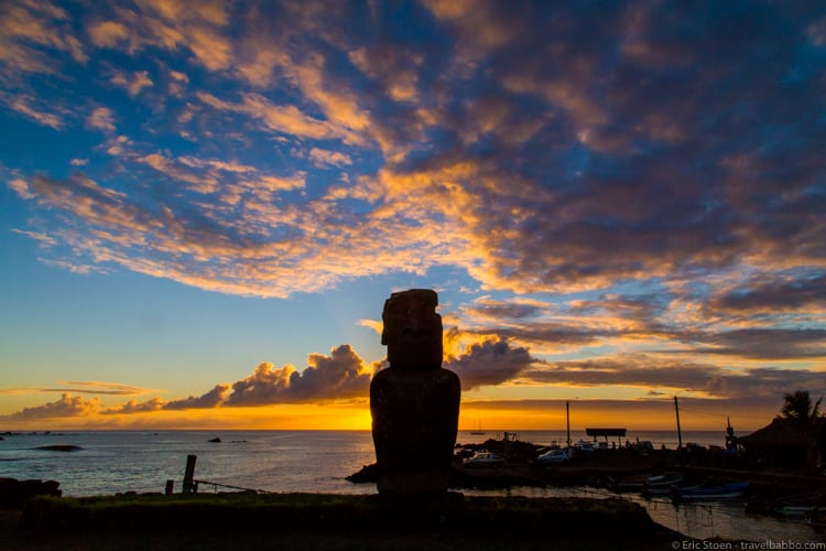 Easter Island with Kids: A Moai at Sunset