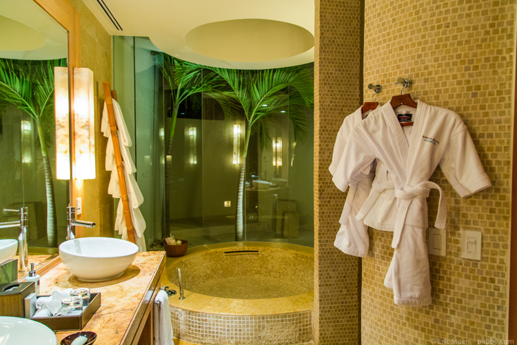 The bathroom at the Rosewood Mayakoba with kid-sized robes