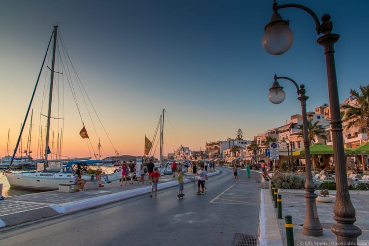Greece with kids: Evening in Naxos Town