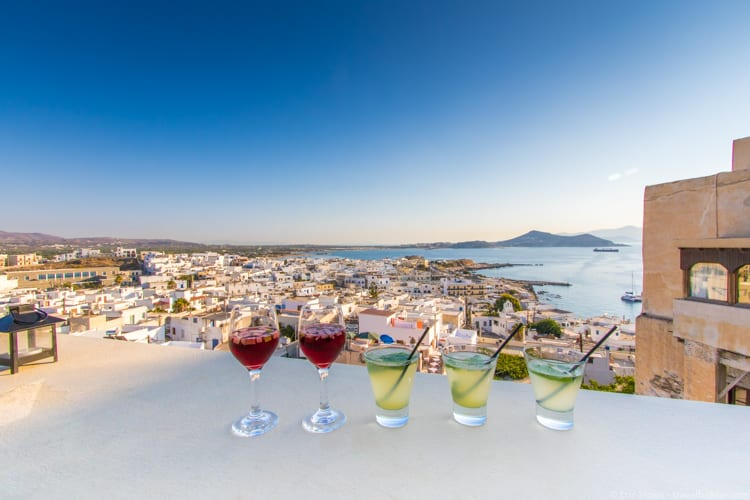 Greece with kids: Drinks at 1739 above Naxos Town - lemonade and sangria!