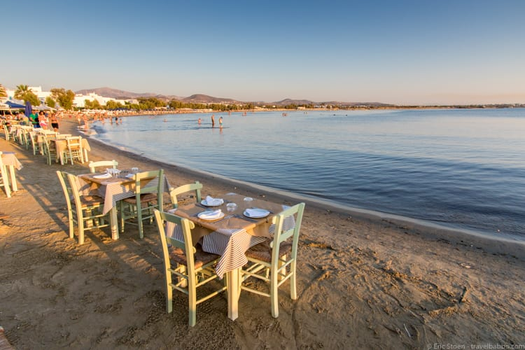 Greece with kids: Nissaki Beach Restaurant on St. George Beach
