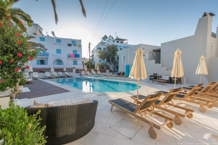Greece with kids: The pool at the Nissaki Beach Hotel