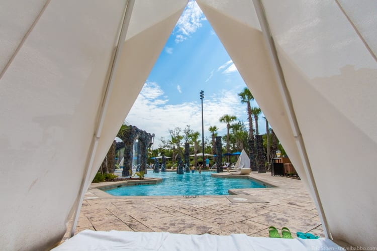 Four Seasons Orlando - From inside our pool teepee. We used it all day and there was no extra charge.