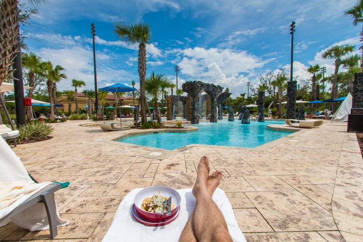 Four Seasons Orlando - Lunch delivered to our chairs at the Splash Zone pool area
