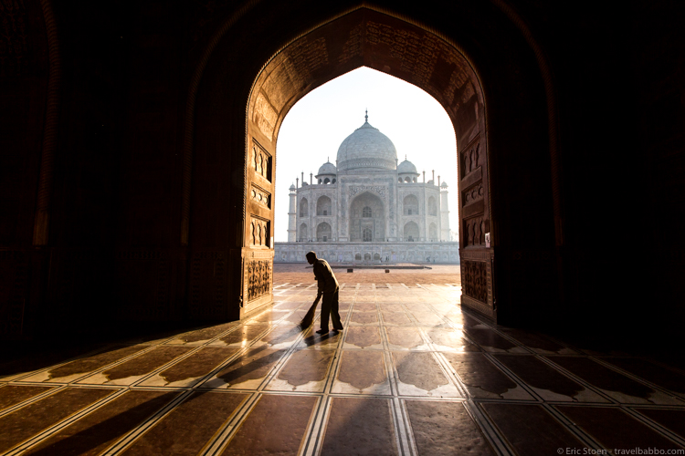 Places to visit in India - From inside the mosque, with only the sweeping caretaker around