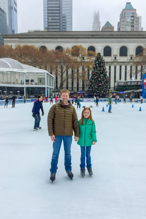 New York Weekend Getaway - Ice skating in Bryant Park on a Monday morning