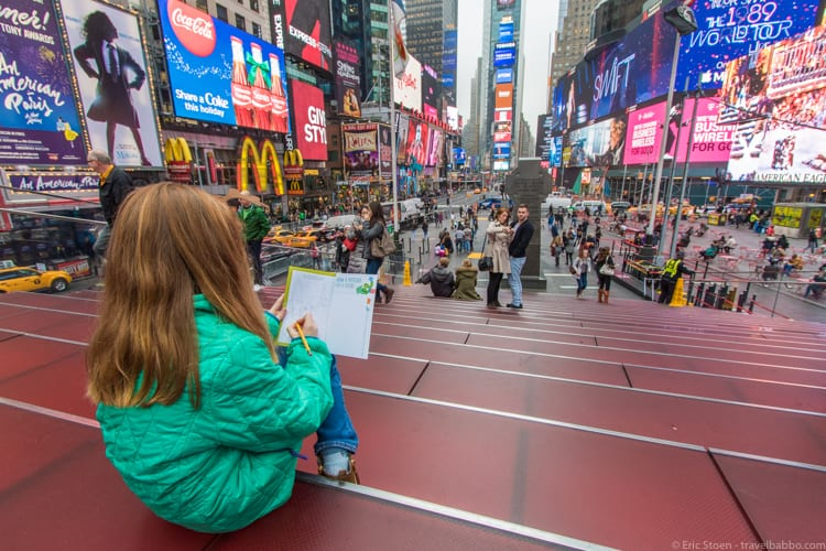 New York Weekend Getaway - Sketching in Times Square in the Westin travel journal