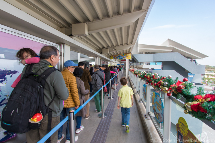 48 hours in Hong Kong: The difference between showing up at the Ngong Ping Cable Car with tickets vs. without tickets. The line stretched forever.