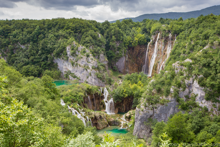 Croatia with kids - The view of Plitvice Lakes National Park from above, shortly after entering the park