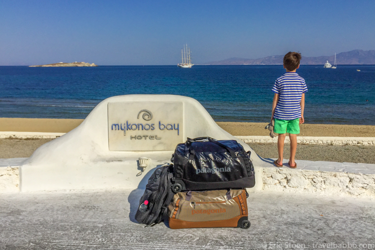 Best travel products - Our Patagonia duffels in Greece.