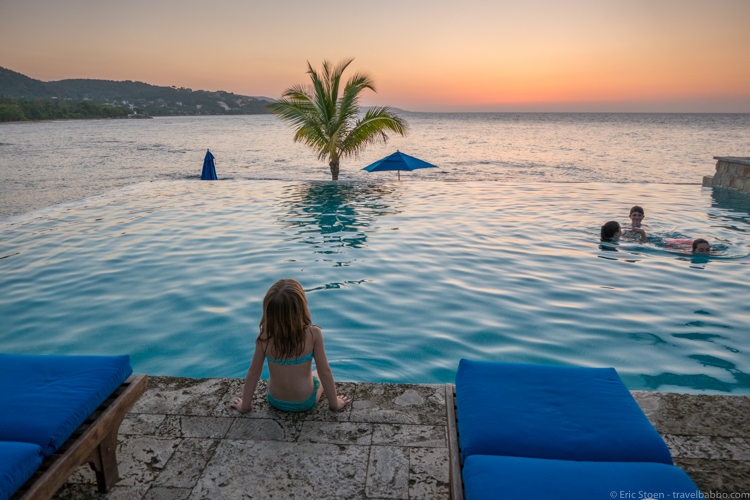 Jamaica with kids - Post-sunset at the pool