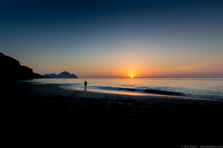 Around the world with kids -Sunrise in Zighy Bay