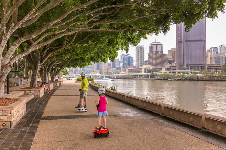 Best kid activities - Riding along the Brisbane Riverwalk on our mini-Segways