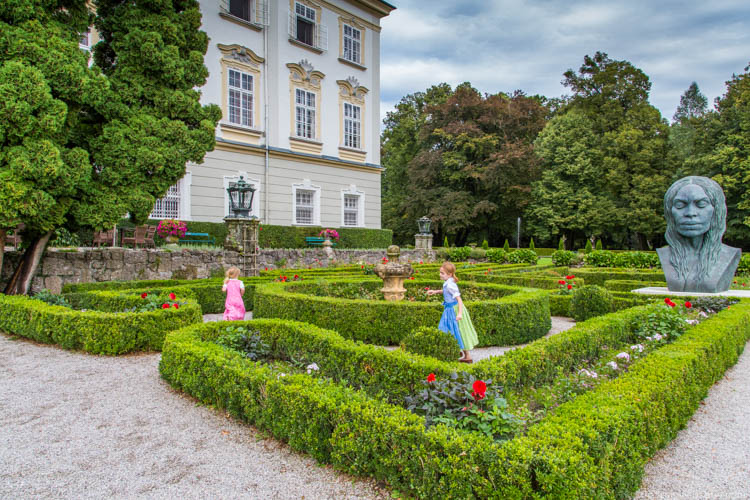 Kid-Friendly European Cities - Salzburg - Playing in the gardens of Hotel Schloss Leopoldskron