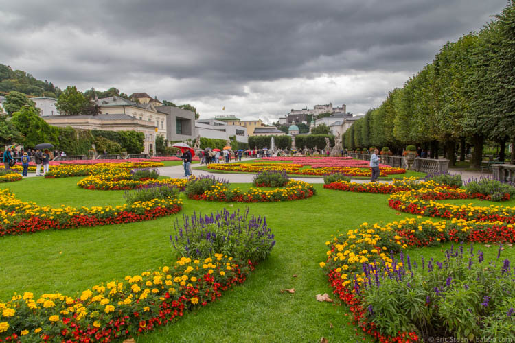 Kid-Friendly European Cities - Salzburg - The gardens of Mirabell Palace. Hohensalzburg Castle is in the distance.