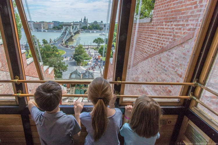 Kid-friendly European cities: On the Castle Hill Funicular, overlooking the Chain Bridge