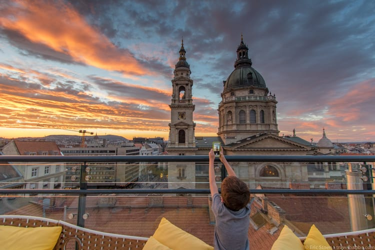 Kid-friendly European cities: Overlooking St. Stephen's Basilica from the rooftop patio of the Aria Hotel Budapest