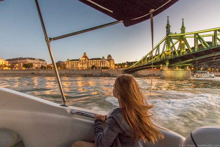Kid-friendly European cities: On our sunset speedboat ride on the Danube