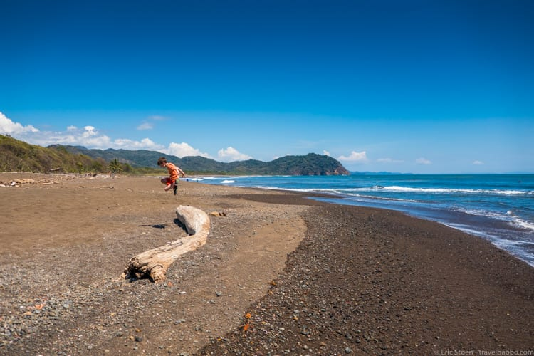 Costa Rica with Kids: Taking a break to play once reaching the ocean