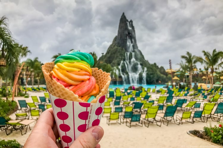 Volcano Bay: The Waturi Beach Blend ice cream (banana, strawberry, blue raspberry and coconut)