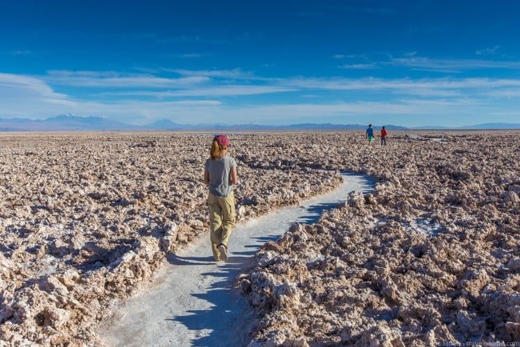 Atacama Desert with Kids - Walking through the Atacama salt flat
