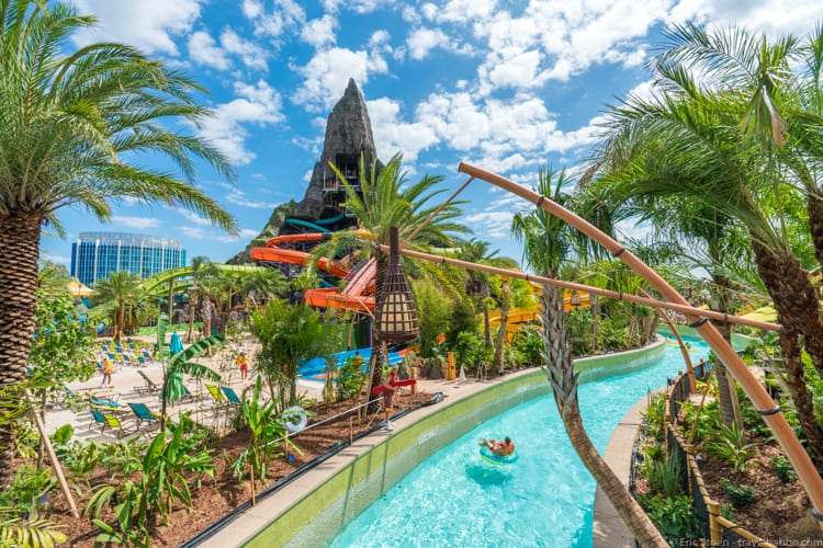 Volcano Bay: The TeAwa Fearless River, with the Punga Racers coming out of the volcano just beyond