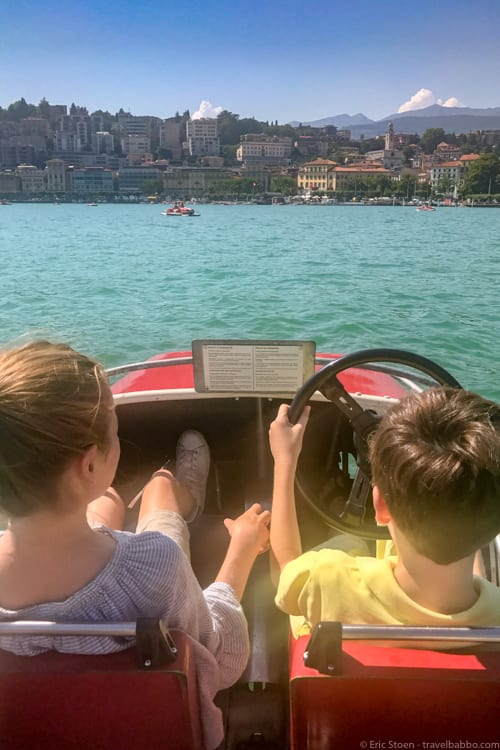 Lake Como with Kids: On Lake Lugano in our old-school pedal boat