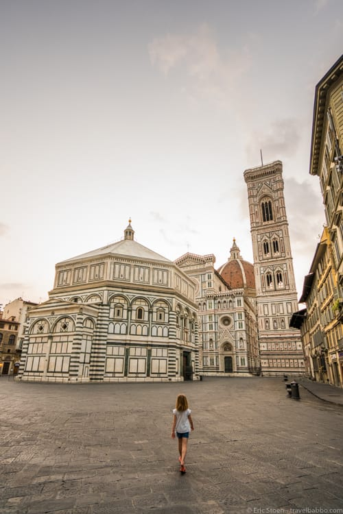 Travel advice: Sunrise in Florence. No one on a cruise ship gets to experience the city this empty.