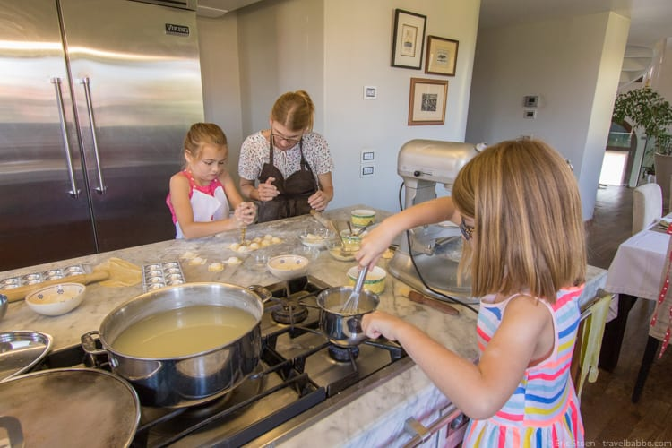 Benefits of traveling with kids: At a cooking class in Venice