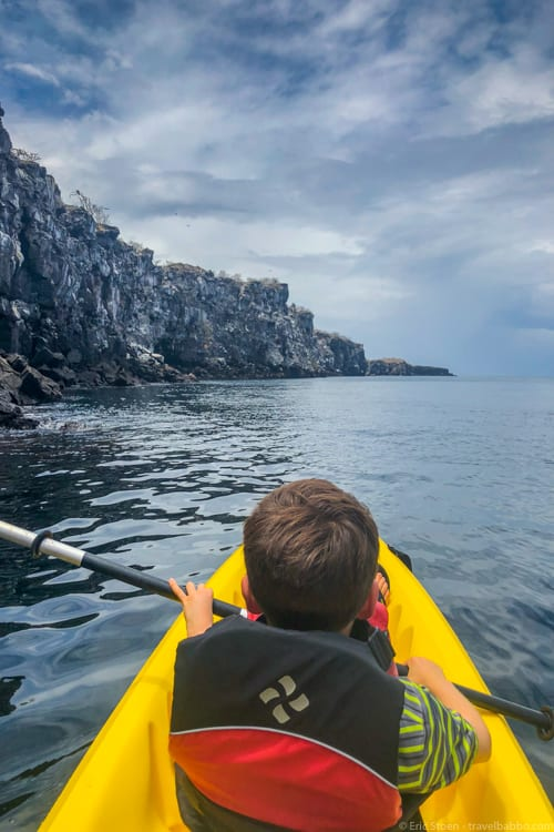 Galapagos with Kids - Kayaking around Genovesa Island - fun while it lasted!
