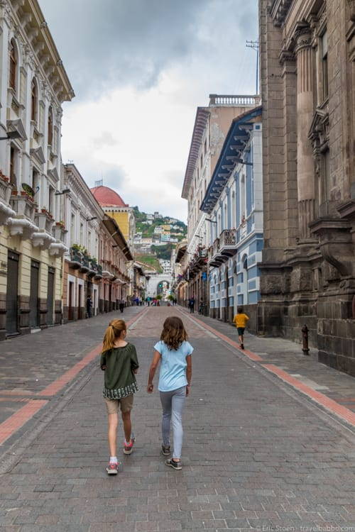 Quito with Kids - Walking through Quito's old town