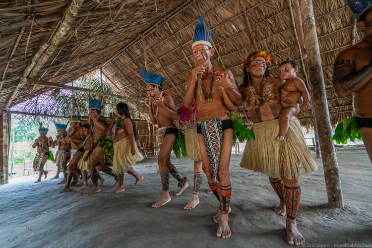 Amazon Rainforest with Kids - A dance during our tribal village stop