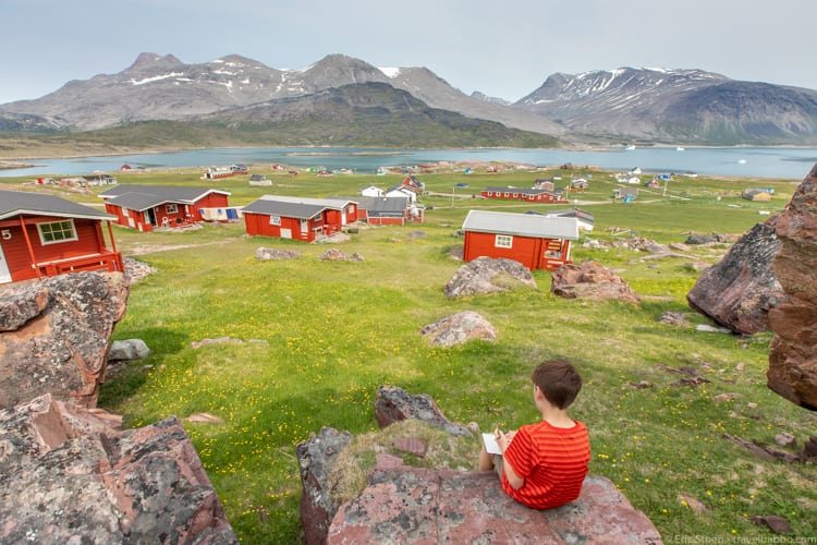 Greenland with kids - Sketching in Igaliku, Greenland