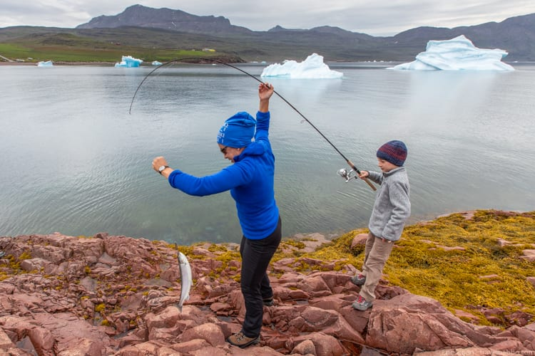 Greenland with kids - My son's first fish!