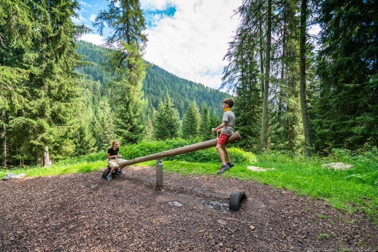 Dolomites with kids: A see saw (with a view!) along the path