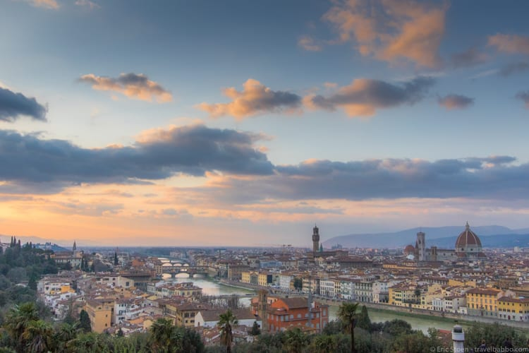 Frequent flyer miles - Florence is my favorite city in the world. And it's even nicer when I can get there on mileage tickets.