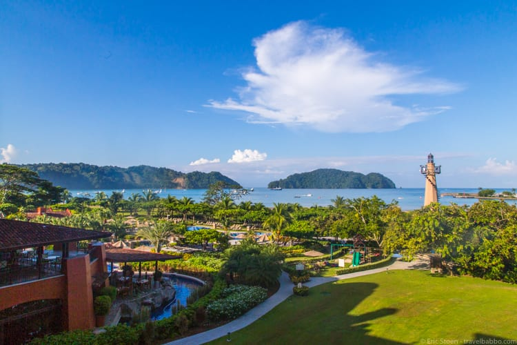 How much does a Disneyland Vacation Cost? The view from our room at the Los Suenos Marriott in Herradura, Costa Rica