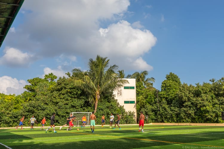Maldives with kids - At the football pitch in the host village
