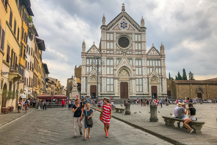 Florence with kids - Walking past Santa Croce on our gelato tour