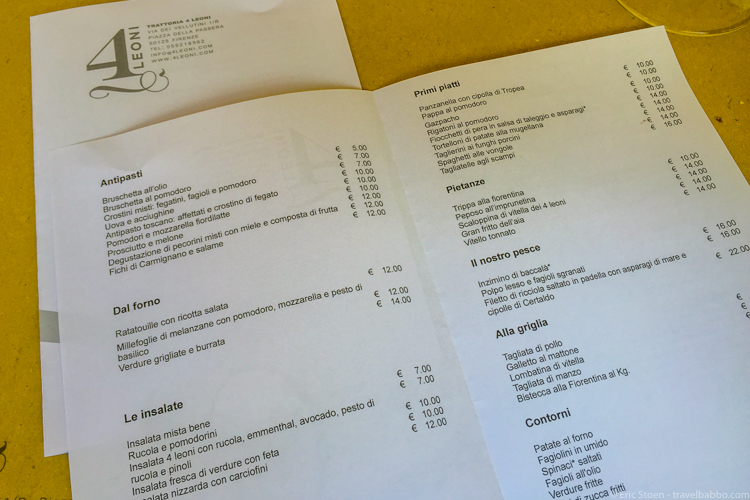 Best restaurants in Florence - I love that the menus at 4 Leoni have no English