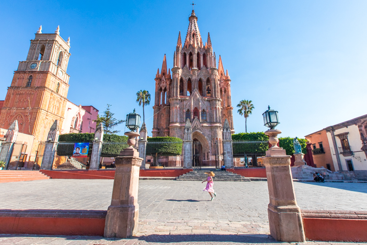 San Miguel de Allende -There were very few tourists in San Miguel de Allende in mid-April. This is in front of the La Parroquia de San Miguel Archangel - the parish church at the center of town.