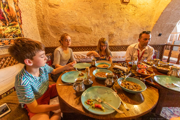 Cappadocia with Kids - Sitting on the floor at Dibek