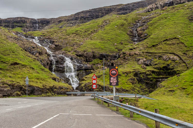 Faroe Islands - A sign telling drivers that there's a truck in the one-lane tunnel. We pulled over and watched sheep until it was safe to drive through.