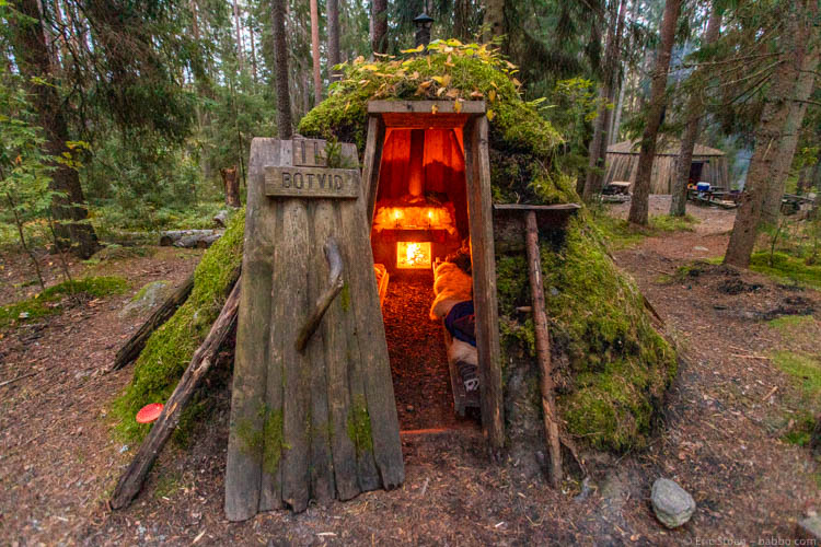 Sweden with kids - Our perfect hut for the night. And yes, the mushroom on the left is real!