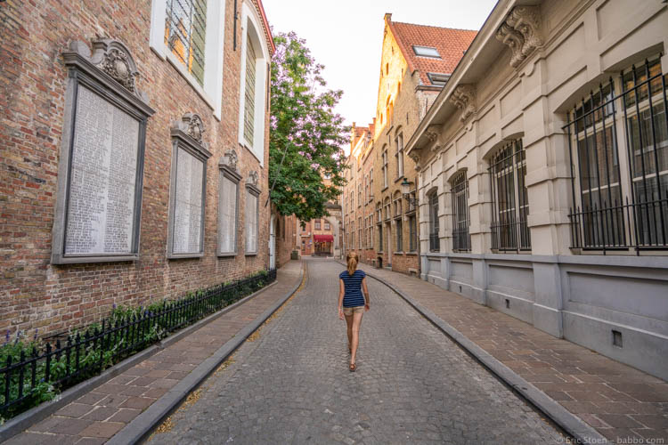 Kid-Friendly European Cities - Bruges - Walking to dinner in the evening