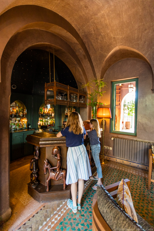 Morocco with Kids - The bar at Les Deux Tours