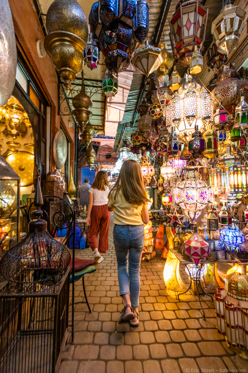 Morocco with Kids - Walking through the souk