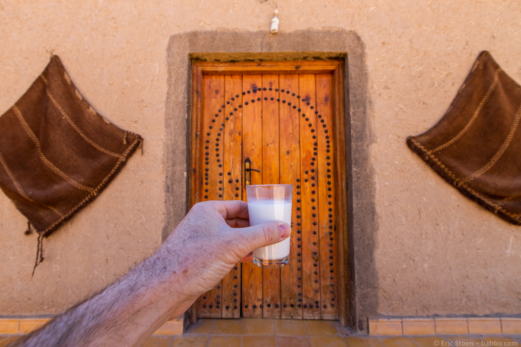 Morocco with Kids - Camel milk on the way to the desert