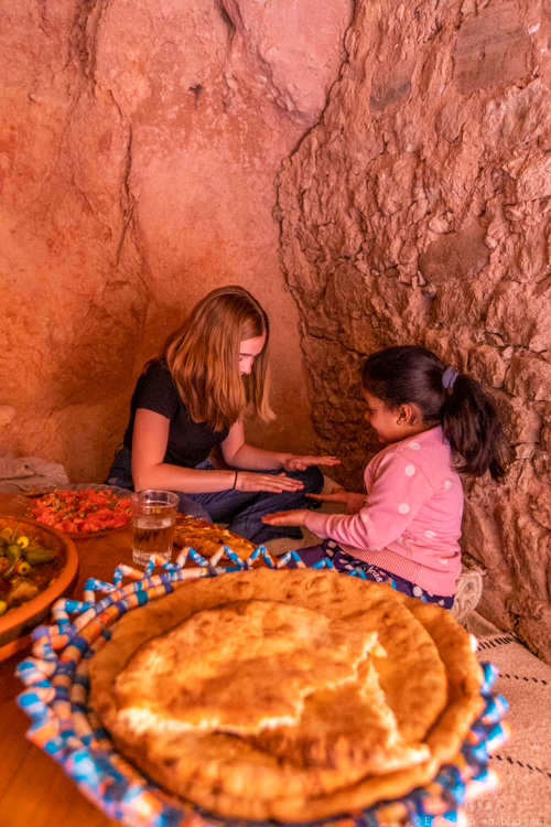 Morocco with Kids - My daughter playing games with Safa