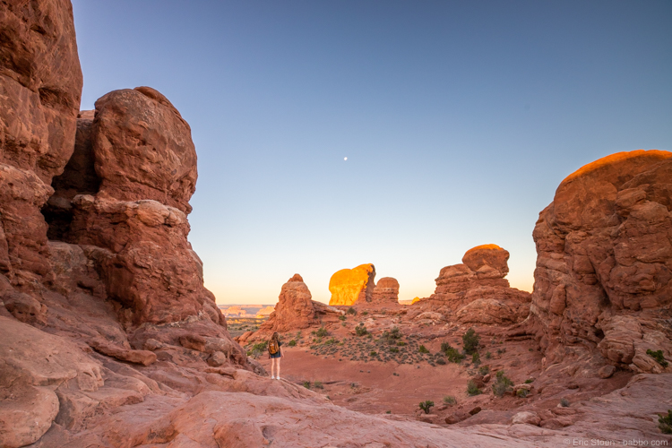 Sunrise near Turret Arch in Arches National Park